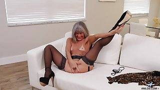 Small tits mature Leilani Lei in stockings and snotty heels having fun