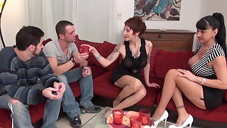 Duo greedy big boobed grown-up floosie found Duo bastards to get hard banged and jizzed