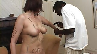 White slut gets her mouth and pussy fucked by a large black locate