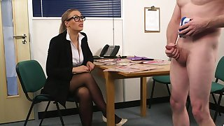 Sexual delight for a clothed office MILF in the air sensual CFNM labour interview