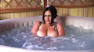 The Wet Busty Latex Slut - Blowjob Handjob in the Whirlpool - Cum on my Tits