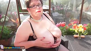 Big boobs Honey with big belly plays with big dildo