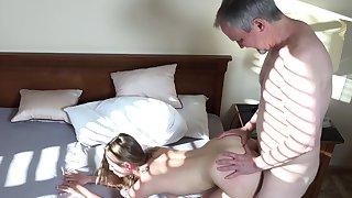 Lady Bug fucked by senior man in insane doggy scenes