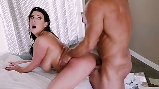 Busty doll swallows whole load after supreme pussy shag