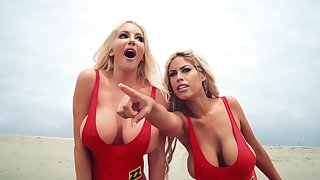 Baywatch roleplay hardcore threesome with two angels