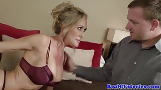 Blindfolded blonde busty milf sucks cock