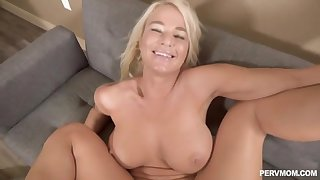 Cock craving woman with big tits getting fucked all over the house