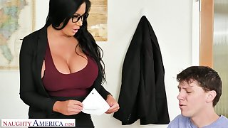 Nigh than simply genteel giant breasted MILFie tutor Sybil Stallone gives titjob