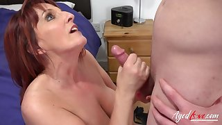 Hot redhead mature lady got fucked hardcore by horny youngster