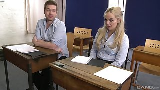 Louise Lee spreads her legs for a friend's fast cock on the desk