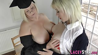 Grandma licks blond hair girl tochis - mom