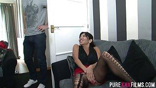 Busty cougar Tara Holy day gets caught masturbating wits a young man