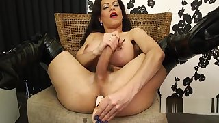 Matured tgirl plays with toys solo