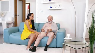 Young be in charge nurse Jennifer Mendez gives a blowjob and titjob to one grey man