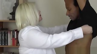 Weaken GILF with fat tits impaled deep on hard black dick
