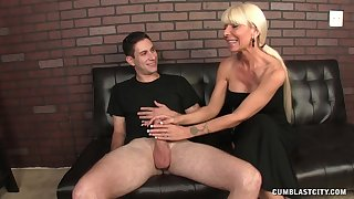 Chubby dick guy enjoys while mature blonde Kasey Storm jerks him off