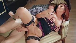 Redhead mommy sits wearing her hot lingerie, constant sex from behind