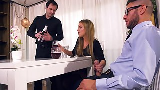 Nasty wife Britney Amber bangs will not hear of lover in front of tied up husband