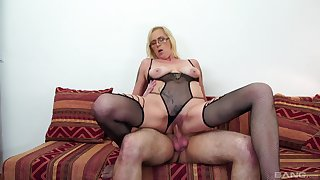 Blonde MILF was hungry for cum, plus she got will not hear of fill plus more
