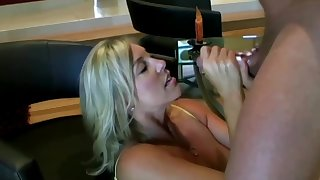 Lusty ash-blonde ma with famous boobies is inhaling lollipop space fully getting on in every direction fours on the floor and getting screwed