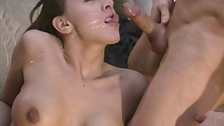 Anal poking in outdoors by the pool and cum in moth for Dasha
