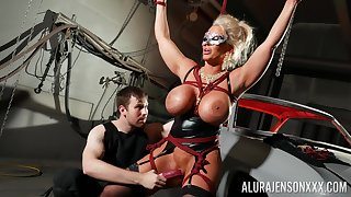 Bound cock slut Alura Jenson is toyed with by a stranger in a oubliette