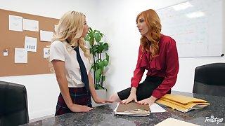 Schoolgirl leaves elder statesman teacher to share her lesbian consent to alongside her