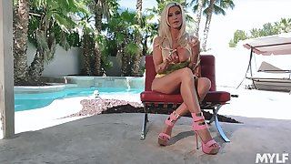 By oneself solo show performed wits eye catching dominate blonde sexpot Brittany Andrews